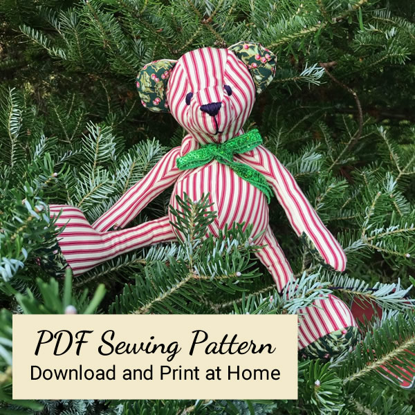 PDF Version - Christmas fabric Teddy