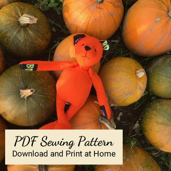 PDF Version - Halloween fabric Teddy