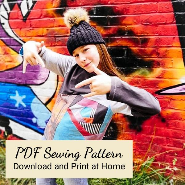 PDF Sewing Pattern - Age 12 VortexTshirt