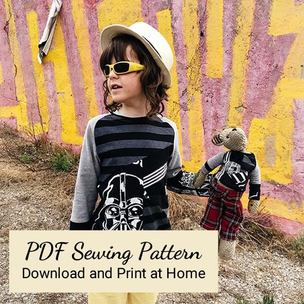 PDF Sewing Pattern - Xavi and Teddy in matching VortexTshirts