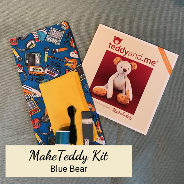 Make Teddy Blue Bear Sewing Kit - Contents